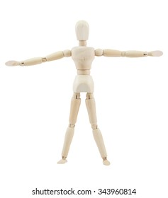 Wooden mannequin on isolate white background. extend the arms.
