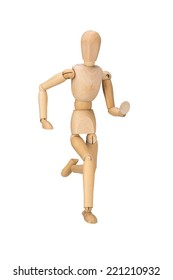 wooden mannequin, puppet,  isolated on white background