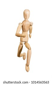 Wooden mannequin trying to represent human movements in moving actions isolated on a white background. Anatomical model runs.