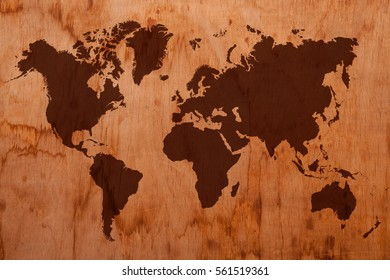 wooden map in vintage style