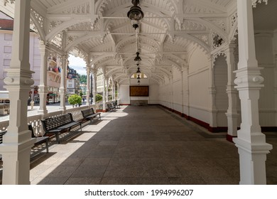 Wooden Market Colonnade in the centre of the important Czech spa town of Karlovy Vary (Karlsbad) in the western part of the Czech Republic - Europe - Shutterstock ID 1994996207