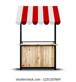 Wooden market stand on white background.