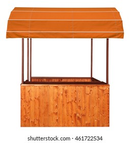 Wooden market stand stall with brown awning