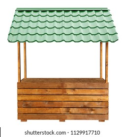 Wooden market stand stall with green metal awning