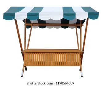 Wooden market stand stall with green white striped awning