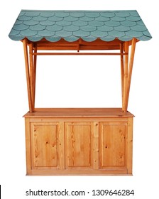 Wooden market stand stall with green awning