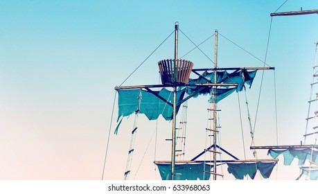 Wooden masts of a pirate ship