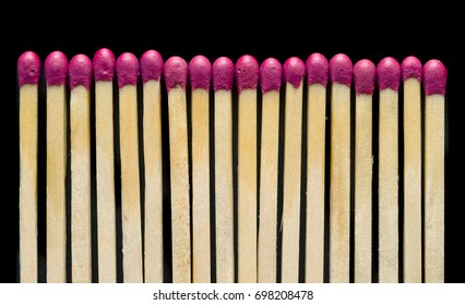 Wooden matches on a black background