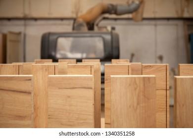 wooden materials in a carpenter's workshop, close up