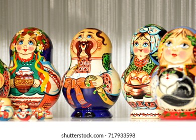 A wooden matryoshka with the image of a Ukrainian Cossack. Souvenir toy from Ukraine