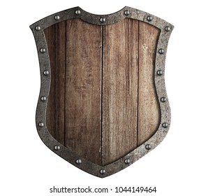 Wooden medieval shield with metal frame isolated 3d illustration