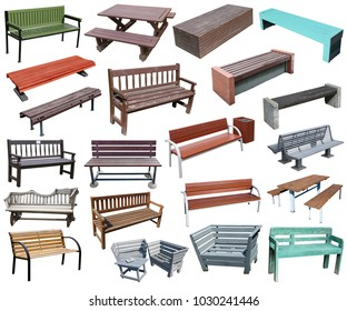 Wooden and metal benches for recreation in the city public park. BIg isolated set collage from several outdoors photos