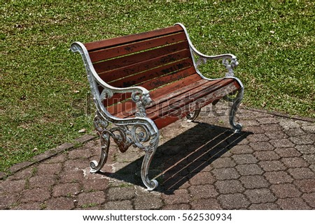 Wooden Metal Frame Park Bench Green Stock Photo Edit Now 562530934