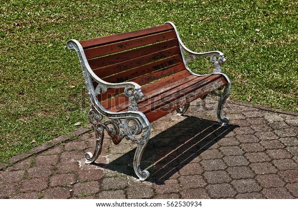 Prime Wooden Metal Frame Park Bench Green Stock Photo Edit Now Uwap Interior Chair Design Uwaporg