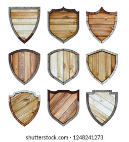 Wooden and metal shield protected steel icons sign set isolated on white background, With objects clipping path for design work