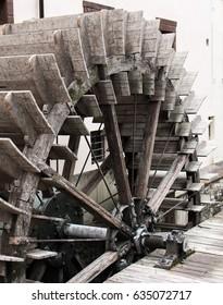 Wooden mill wheel