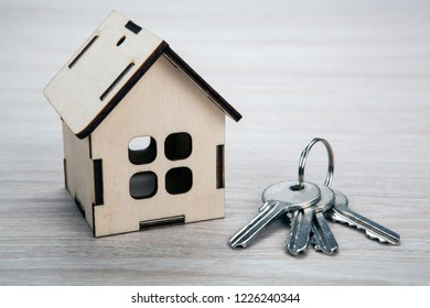 wooden miniature house with door keys close up