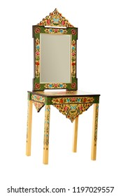 Wooden mirror design and traditional painting