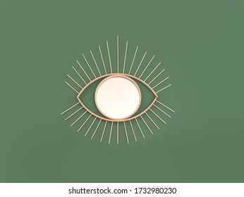 Wooden mirror in eye shape as a bohemian style wall decoration object on green background