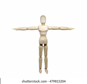 Wooden model pose alongside a separate white background.