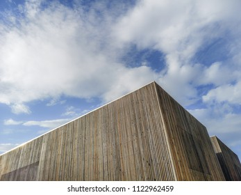Wooden modern building with amazing sky,  contemporary architecture with refined lines and minimalist design