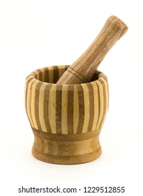 Wooden mortar and pestle for grinding and crushing herbs and food