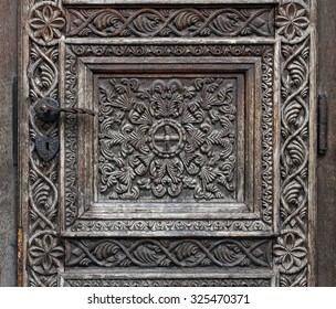Wooden motifs on a medieval church door
