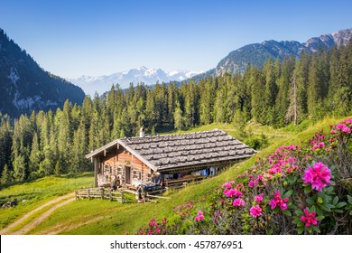 Wooden mountain hut in the alps, Salzburg, Austria