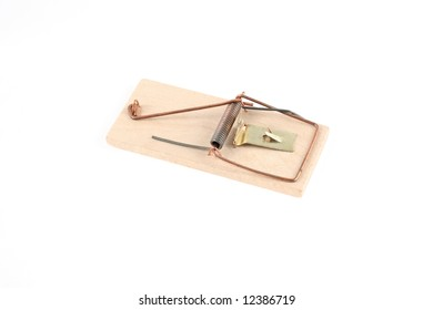 Wooden mousetrap on white background