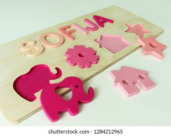 Wooden name puzzle. Personalized toy for baby