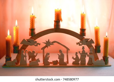 Wooden nativity scene candlestick with handmade beeswax candles
