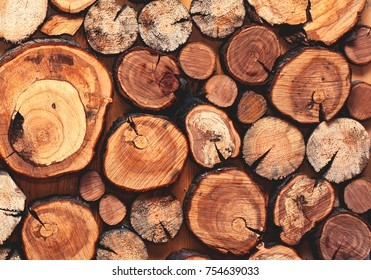 Wooden natural sawn a logs closeup, texture for background, top view, flat lay photo