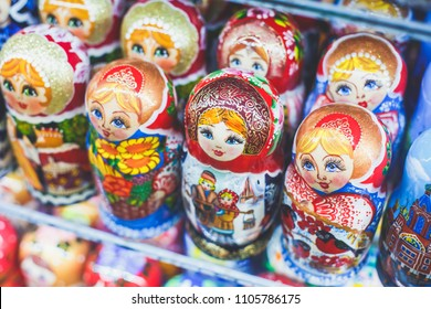 Wooden Nesting Dolls or Russian Matryoshka Dolls for sale in St Petersburg, Russia, Matryoshka dolls - traditional Russian souvenirs for foreign tourists