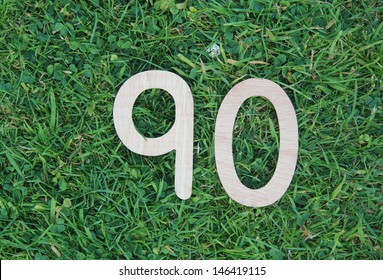 wooden ninety on grass and clover background