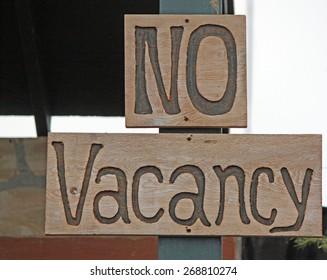 Wooden No Vacancy Sign