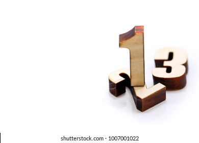 wooden number of 1 2 3 with white background,business Challenge concept.