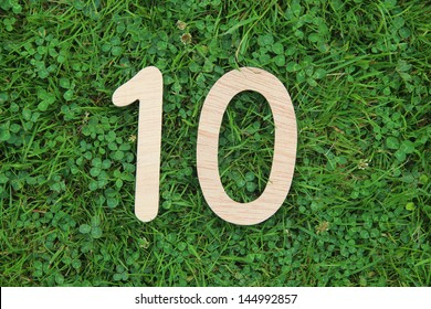 wooden number 10 on grass and clover background