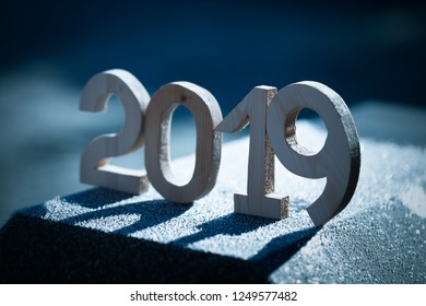 Wooden number 2019. Happy new Year 2019.