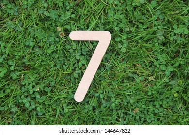 wooden number 7 on grass and clover background