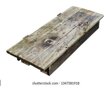 Wooden oak table decktop made  from old aged door. Isolated outdoor rural object