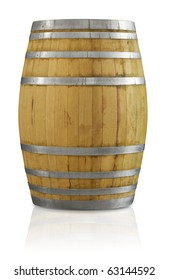 Wooden oak wine barrel with a clipping path