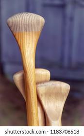 Wooden oar handles