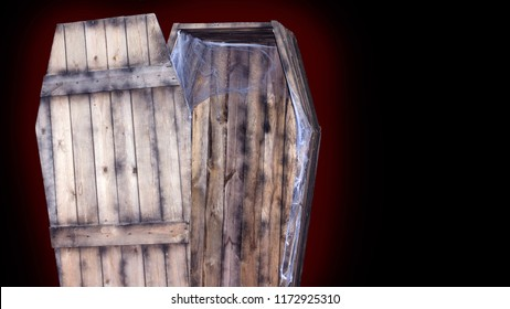 wooden old coffin, Halloween