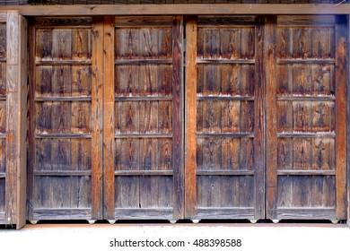 wooden old door in Japanese style