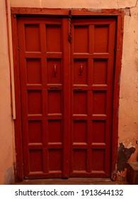 wooden old door in a village