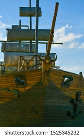 wooden old ship. against the blue sky. pirate ship
