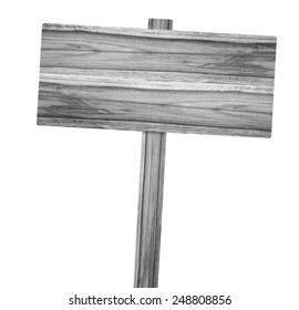 Wooden old sign isolated on background white.