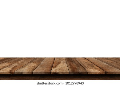 Wooden old table isolated on white background. For your product placement or montage with focus to the table top in the foreground. Empty wooden dark shelf. shelves