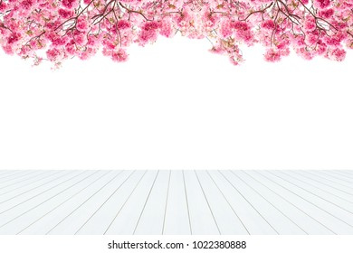 Wooden old table isolated on pink flower background. For your product placement or montage with focus to the table top in the foreground. Empty wooden white shelf. shelves