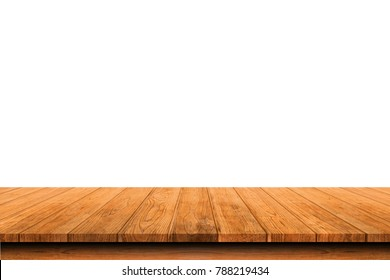 Wooden old table isolated on white background. For your product placement or montage with focus to the table top in the foreground. Empty wooden orange shelf. shelves
